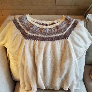 Short dolman sleeve fair isle sweater
